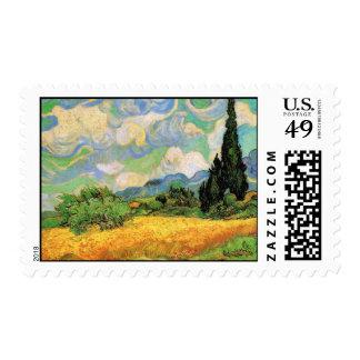 Cipreses del campo de trigo de Van Gogh w en Haute Estampillas