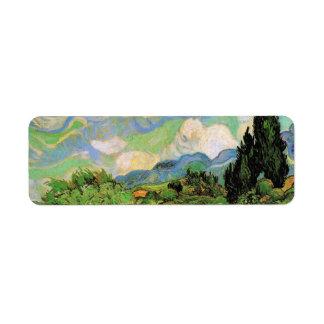 Cipreses del campo de trigo de Van Gogh w en Haute Etiqueta De Remite