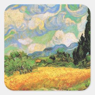 Cipreses del campo de trigo de Van Gogh w en Haute Pegatina Cuadrada