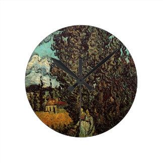Cipreses y dos mujeres, arte de Van Gogh del Relojes