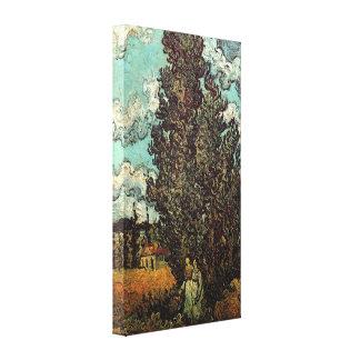Cipreses y dos mujeres, bella arte de Van Gogh del