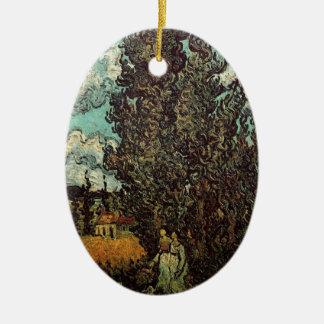 Cipreses y dos mujeres, bella arte de Van Gogh del Adorno Navideño Ovalado De Cerámica