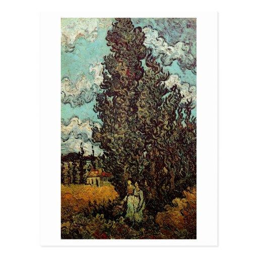Cipreses y dos mujeres, Vincent van Gogh Postal