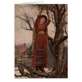 Circa 1820: A young woman cuts mistletoe Card