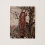 Circa 1820: A young woman cuts mistletoe Puzzles