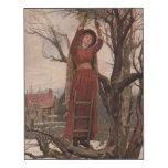 Circa 1820: Una mujer joven corta el muérdago Impresión En Madera