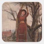 Circa 1820: Una mujer joven corta el muérdago Pegatina Cuadrada