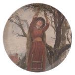 Circa 1820: Una mujer joven corta el muérdago Plato De Cena