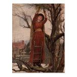 Circa 1820: Una mujer joven corta el muérdago Postal
