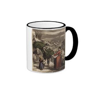 Circa 1850: A carter delivering holly Ringer Mug
