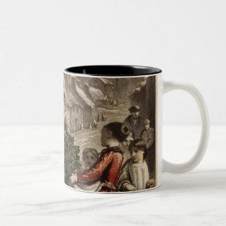 Circa 1850: A carter delivering holly Two-Tone Coffee Mug