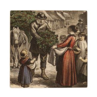 Circa 1850: A carter delivering holly Wood Coaster
