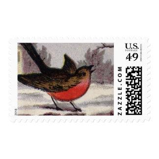 Circa 1865: Un petirrojo tradicional del navidad Sellos Postales