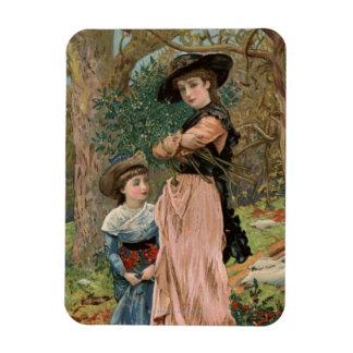 Circa 1870: Chicas jóvenes que recogen el muérdago Imanes