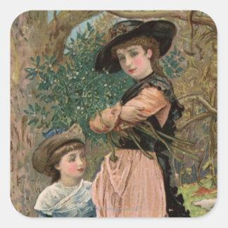 Circa 1870: Chicas jóvenes que recogen el muérdago Pegatina Cuadrada