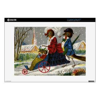 "Circa 1870: The Robin family take a stroll 15"" Laptop Decal"