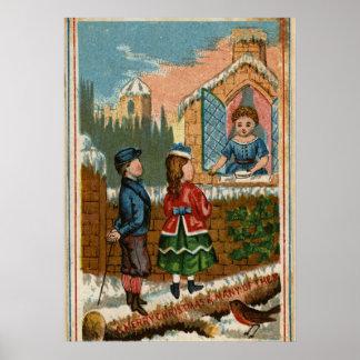 Circa 1870: Una tarjeta de felicitaciones del navi Póster