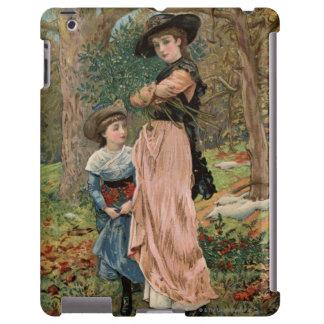 Circa 1870: Young girls collecting mistletoe