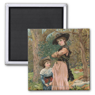 Circa 1870: Young girls collecting mistletoe 2 Inch Square Magnet