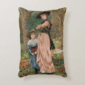 Circa 1870: Young girls collecting mistletoe Decorative Pillow