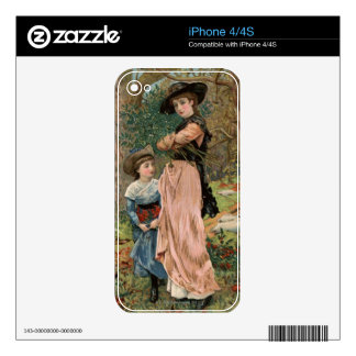 Circa 1870: Young girls collecting mistletoe iPhone 4 Decal