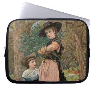 Circa 1870: Young girls collecting mistletoe Laptop Computer Sleeve