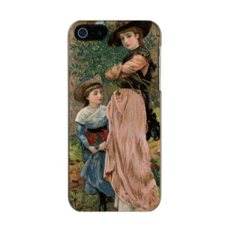 Circa 1870: Young girls collecting mistletoe Metallic Phone Case For iPhone SE/5/5s