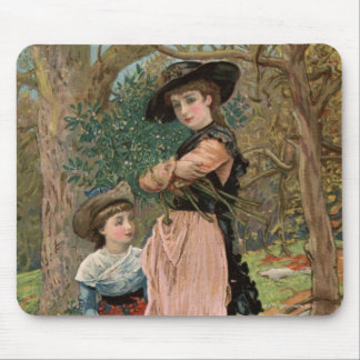 Circa 1870: Young girls collecting mistletoe Mouse Pad