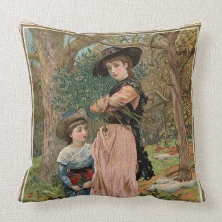 Circa 1870: Young girls collecting mistletoe Pillow