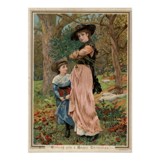Circa 1870: Young girls collecting mistletoe Posters