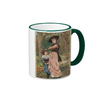 Circa 1870: Young girls collecting mistletoe Ringer Mug