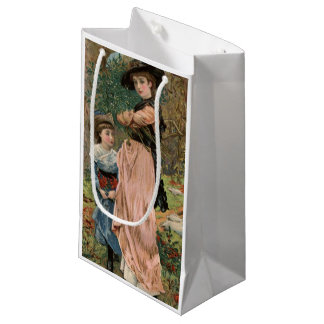Circa 1870: Young girls collecting mistletoe Small Gift Bag