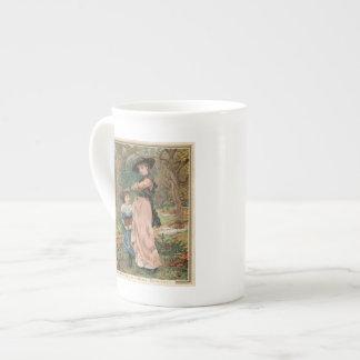 Circa 1870: Young girls collecting mistletoe Bone China Mugs