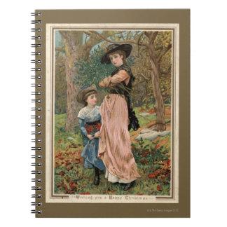 Circa 1870: Young girls collecting mistletoe Spiral Notebook