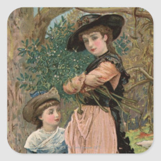 Circa 1870: Young girls collecting mistletoe Square Sticker