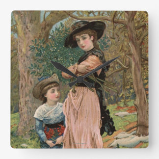 Circa 1870: Young girls collecting mistletoe Square Wall Clock