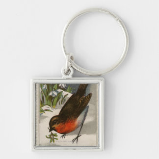 Circa 1871: A robin, with mistletoe in its beak Silver-Colored Square Keychain