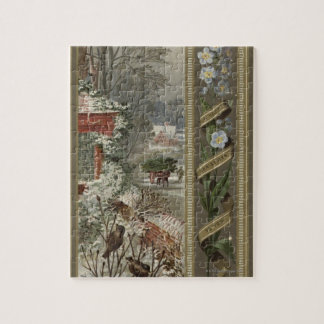 Circa 1871: A wintry Christmas scene Puzzle