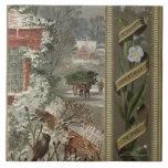 Circa 1871: A wintry Christmas scene Tile