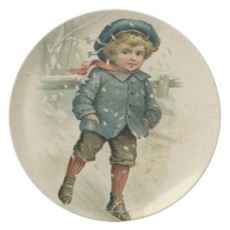 Circa 1871: A young boy skating over ice Dinner Plate