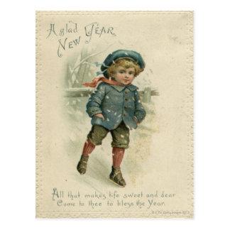 Circa 1871: A young boy skating over ice Postcard