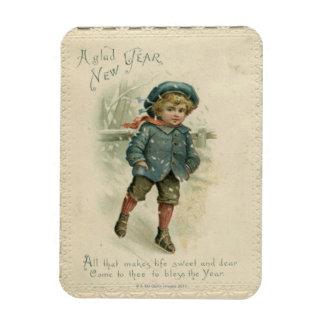 Circa 1871: A young boy skating over ice Rectangular Magnets