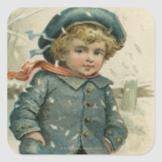 Circa 1871: A young boy skating over ice Square Sticker