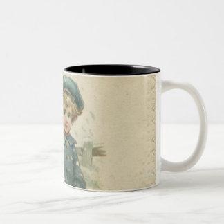 Circa 1871: A young boy skating over ice Two-Tone Coffee Mug