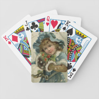 Circa 1871: A young girl in the snow Bicycle Playing Cards