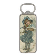 Circa 1871: A young girl in the snow Magnetic Bottle Opener
