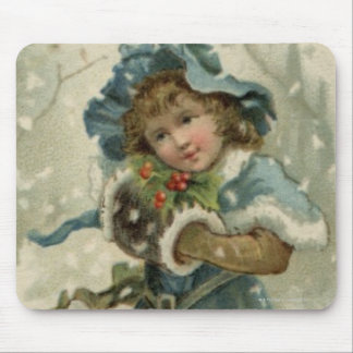 Circa 1871: A young girl in the snow Mousepad