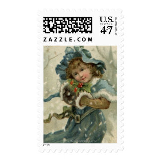 Circa 1871: A young girl in the snow Postage