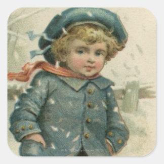 Circa 1871: Un muchacho joven que patina sobre el Pegatina Cuadrada