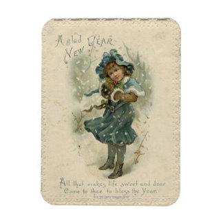 Circa 1871: Una chica joven en la nieve Imán Rectangular